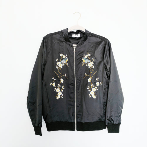 'Blair' Embroidered Satin Bomber Jacket
