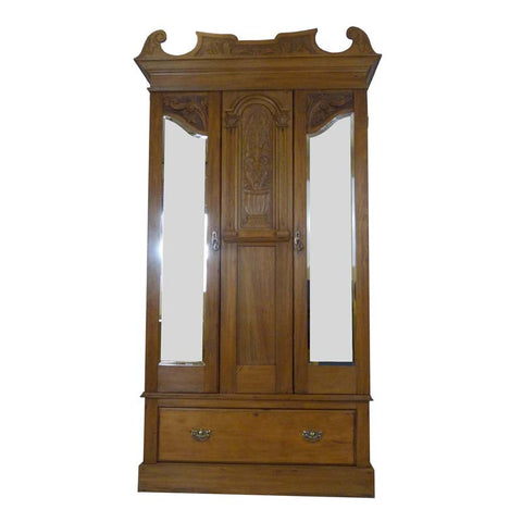 Victorian Wardrobe in Satin Walnut - RE:SOURCE Vintage