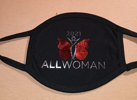ALL WOMAN 2021 LOGO 3-PLY COTTON FACE MASK with LOOPS