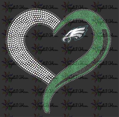 EAGLES TEAM HEART MIXED MEDIA TRANSFER - WITH TEAM DECAL
