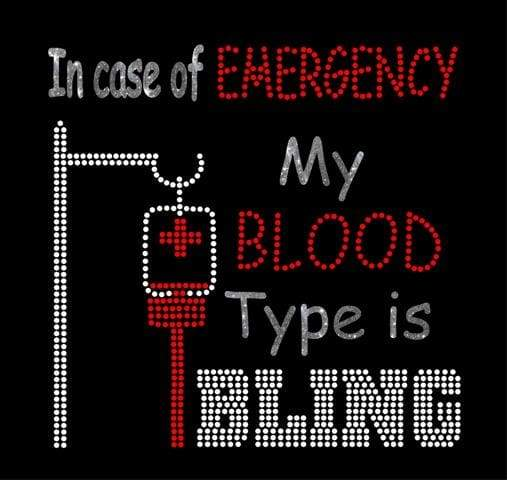 Blood Type Bling Mixed Media Rhinestone and HTV Digital Download