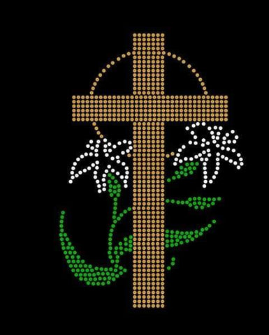 Lily and Cross Rhinestone Digital Download