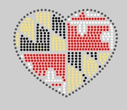 HEART SHAPED MARYLAND STATE FLAG RHINESTONE File
