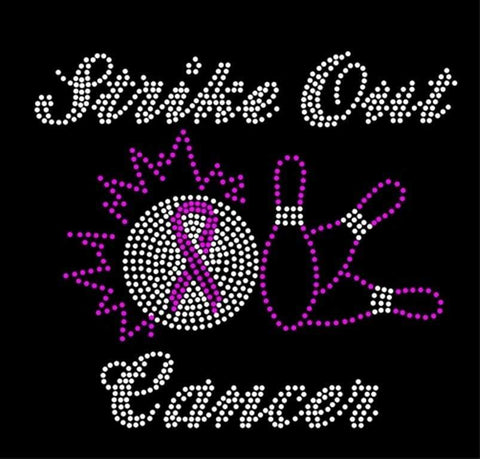 STRIKE OUT CANCER Rhinestone Transfer