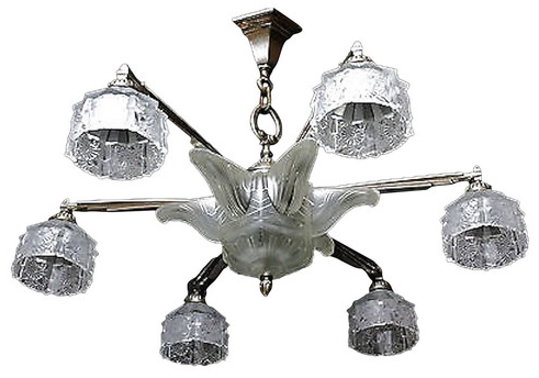French Art Deco Chandelier by Verrerie Des Hanots