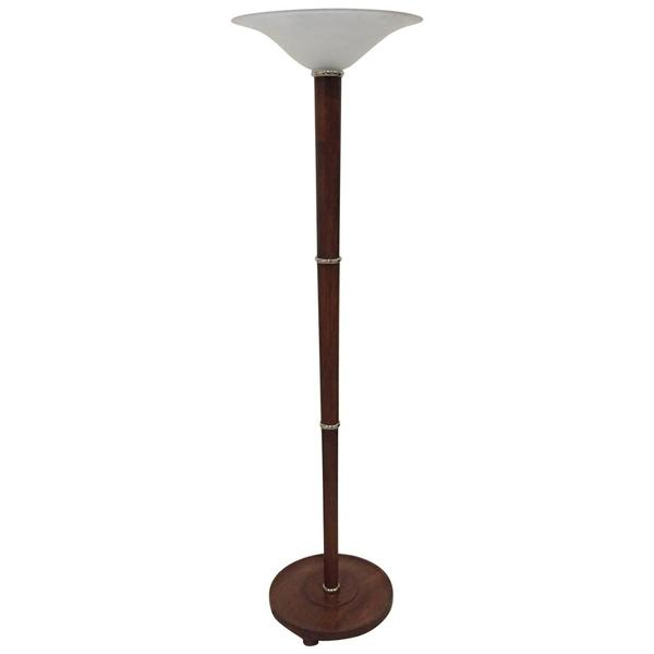 French Art Deco Figured Wood and Bronze Floor Lamp/Torchiere