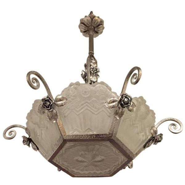 French Art Deco Nickel over Wrought Iron Floral Chandelier