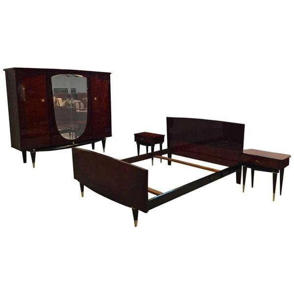 French Art Deco Bedroom Set: Bed, Nightstands and Armoire