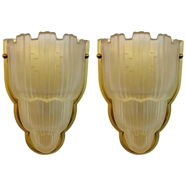 "Pair of ""Waterfall"" Sconces Signed by Sabino"