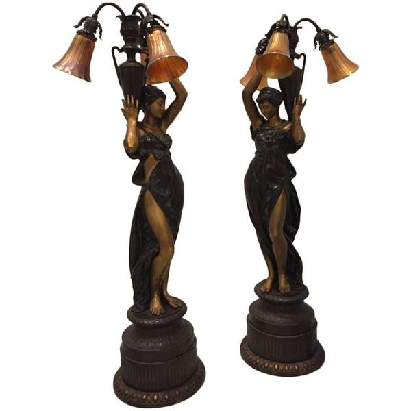 Two French Bronze Ladies Torchere Lamps
