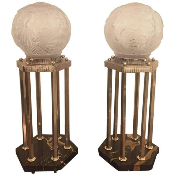 French Art Deco Pair of Table Lamps by Muller Frères
