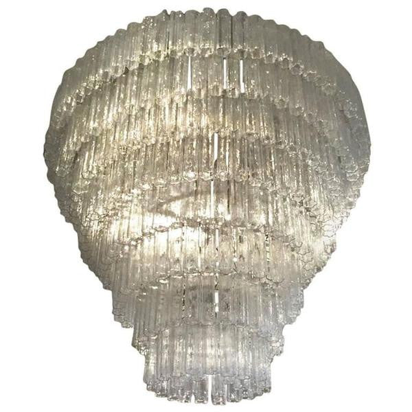Italian Mid Century Round Eight Tired Tronchi Chandelier