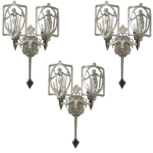 Set of Three American Art Deco Sconces