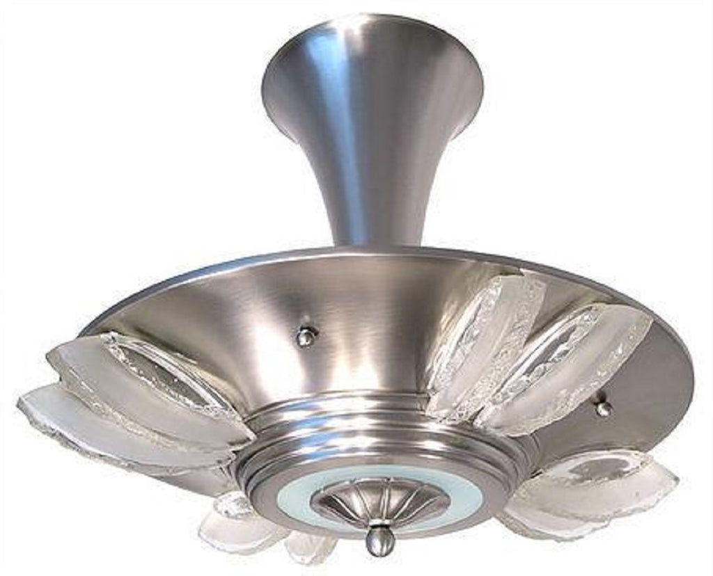 A brief history of art deco chandeliers 1 of a kind nj for a smaller room consider something like this french art deco modernist ceiling light chandelier which is gorgeous and true to the style arubaitofo Images