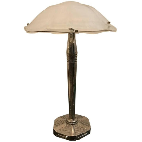 French Art Deco Table Lamp Signed by Sabino with Geometric Motif