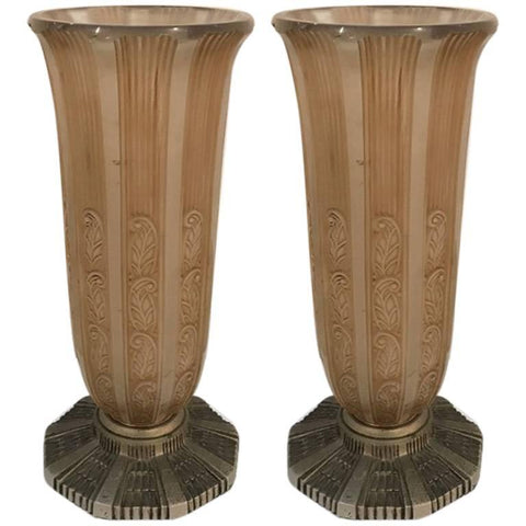 Pair of French Art Deco Vases by Hettier & Vincent
