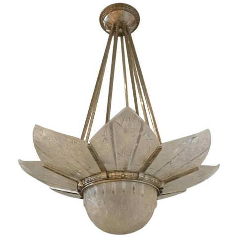 French Art Deco Starburst Chandelier Signed by Hettier Vincent