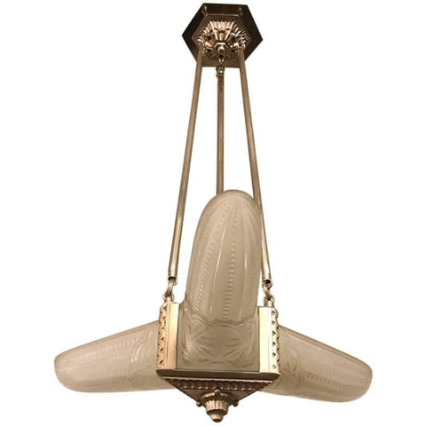 French Art Deco Triangular Starburst Chandelier
