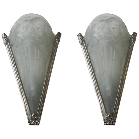 Pair of Floral French Art Deco Sconces