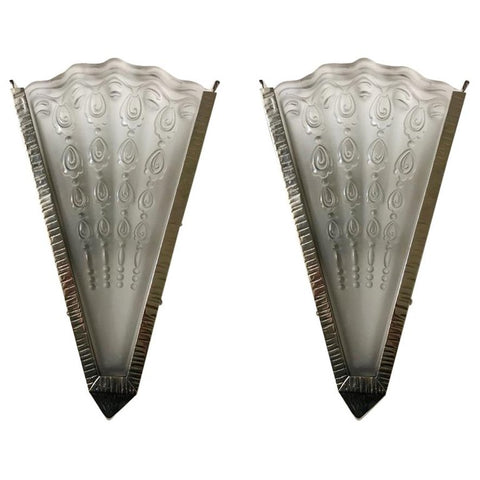 Pair of French Art Deco Fan Sconces by Genet Et Michon