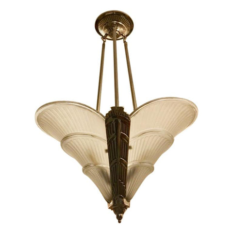French Art Deco Ribbed Chandelier