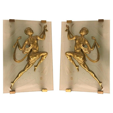 Grand Pair of French Art Deco Female Dancer Sconces