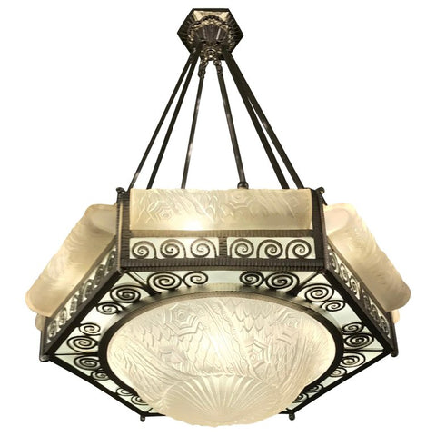 French Art Deco Hexagonal Chandelier by Schneider