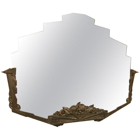 French Art Deco Geometric and Floral Wall Mirror with Skyscraper Motif