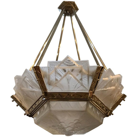 Grand French Art Deco Geometric Chandelier Signed by Muller Freres Luneville