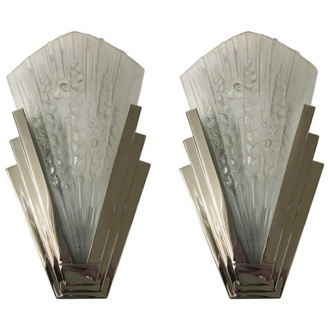 Pair of French Art Deco Skyscraper Floral Sconces