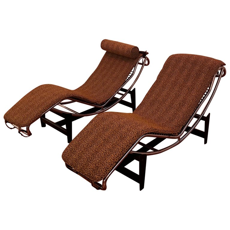 Pair Of Le Corbusier Lc4 Style Leopard Print And Chrome Lounge Chair 1 Of A Kind Nj