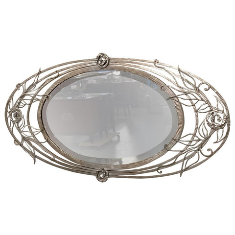 French Art Deco Geometric and Floral Wall Mirror