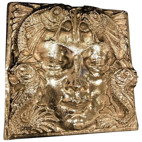 Lalique Nickel Masque de Femme Face Wall Plaque Sculpture