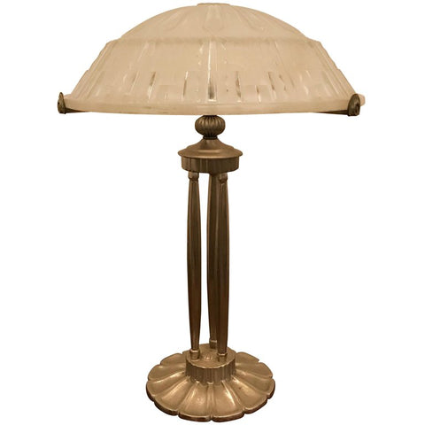 French Art Deco Table Lamp With Geometric Motif