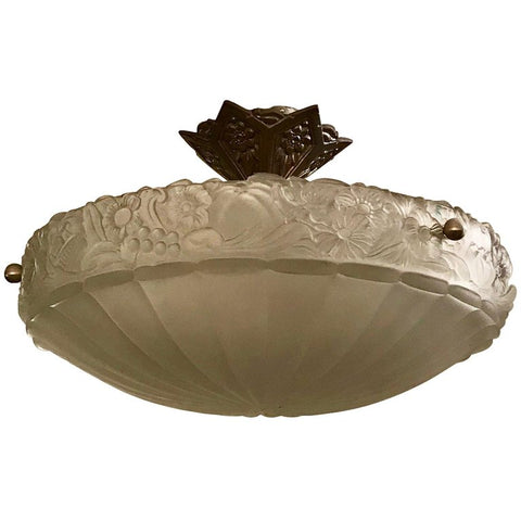 French Art Deco Semi Flush Mount Floral Chandelier