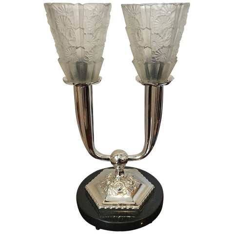 French Art Deco Floral Table Lamp