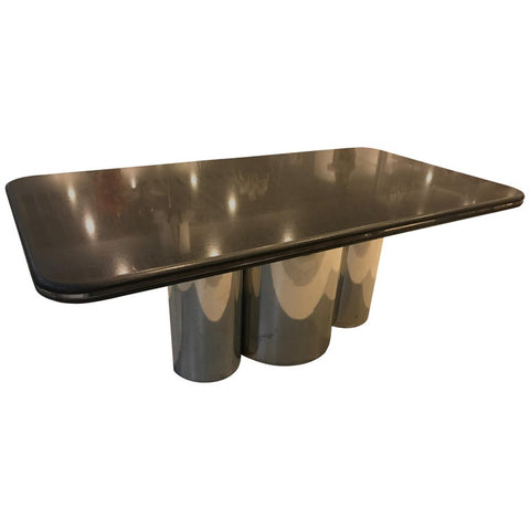 Black Granite and Chrome Dining Table