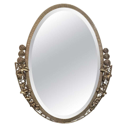 French Art Deco Oval Nickel Beveled Mirror