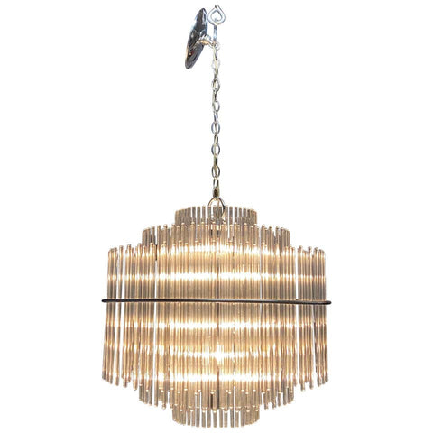 Midcentury Glass Rod Chandelier