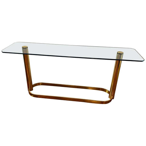 Mid Century Modern Console With Brass Base and Glass Top