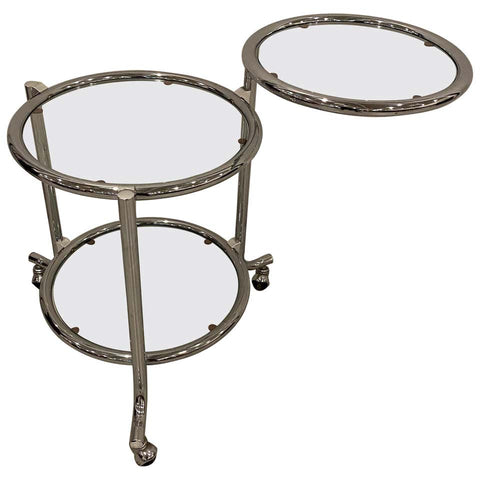 Modern Tiered Chrome Glass Side Table