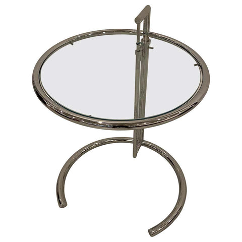 Mid-Century Modern Chrome and Glass Adjustable Table