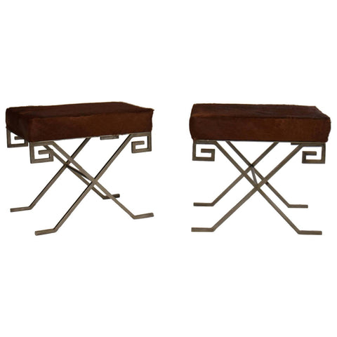 Pair of Mid Century Benches Upholstered With Cowhide