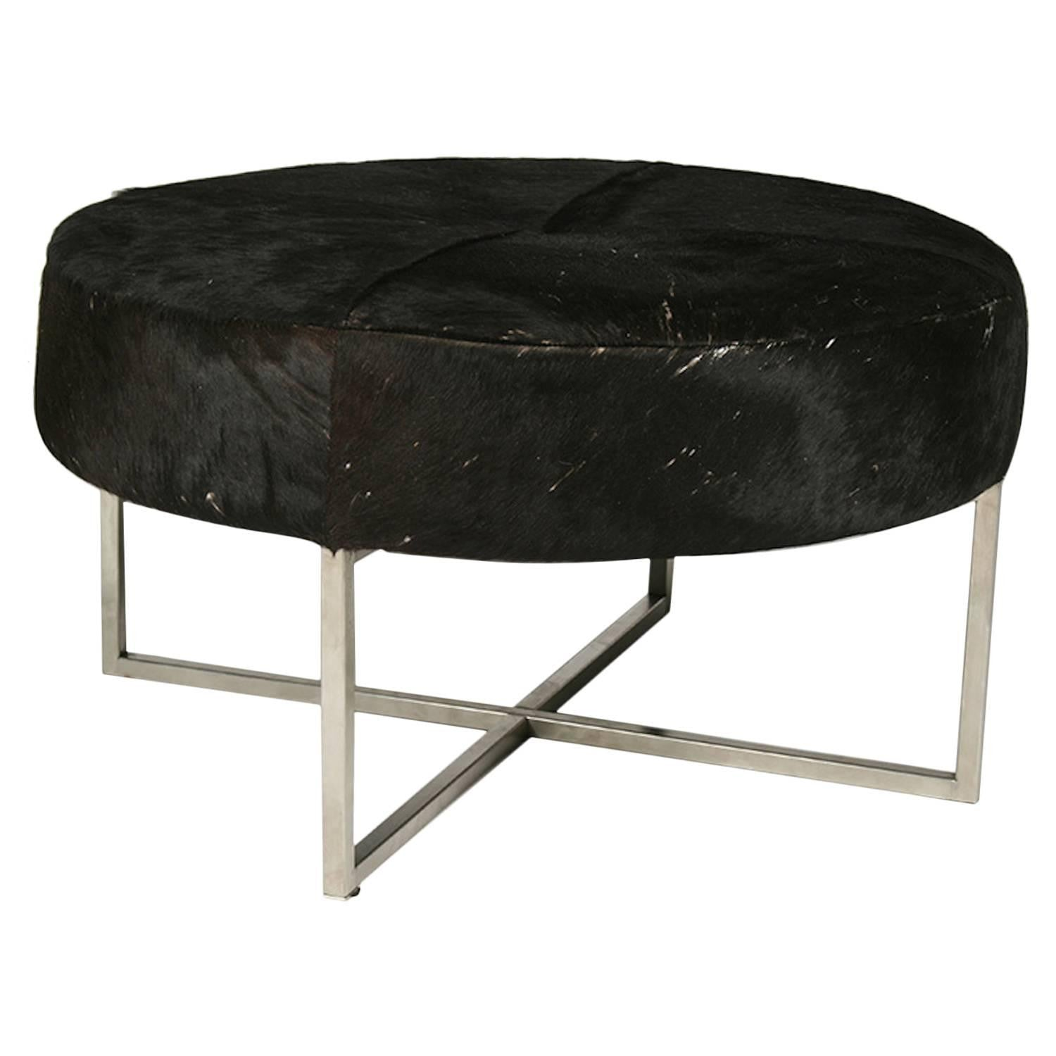 Mid Century Modern Cowhide Upholstered Round Bench 1 Of A Kind Nj