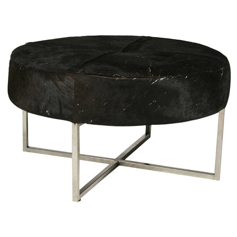 Mid-Century Modern Cowhide Upholstered Round Bench
