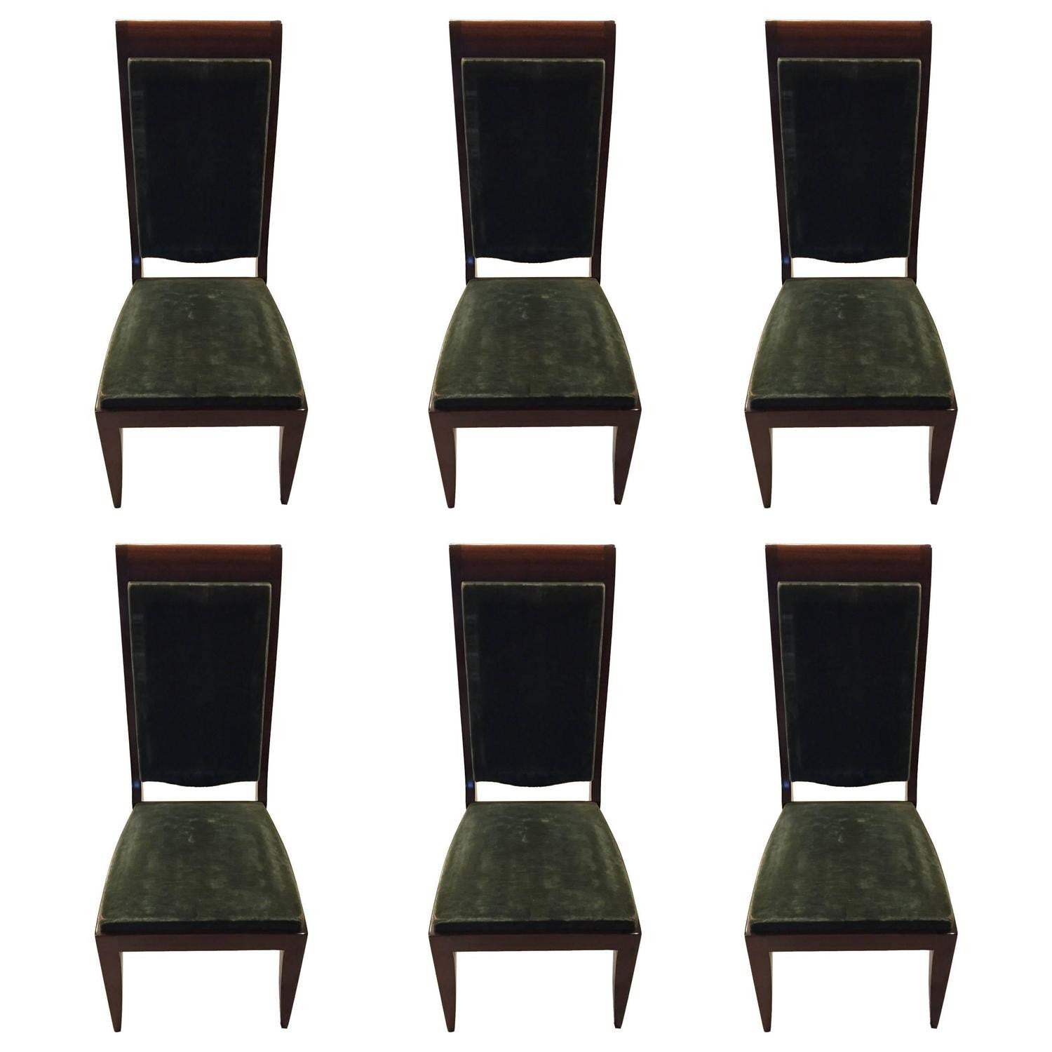 Six Gaston Poisson Attributed French Art Deco Dining Chairs – 1 of