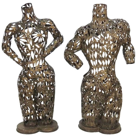 Pair of Brutalist Metal Torso Sculptures