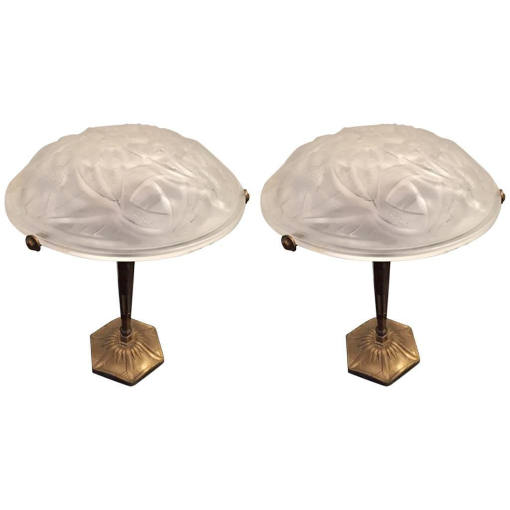 Pair of signed degue french art deco table lamps 1 of a kind nj pair of signed degue french art deco table lamps geotapseo Images