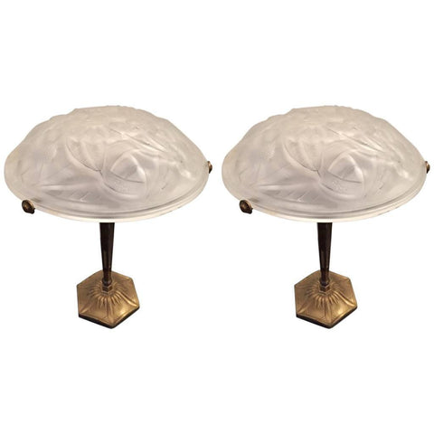 Pair of Signed Degue French Art Deco Table Lamps