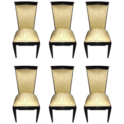 French Art Deco Ebonized Dining Chairs Set of Six